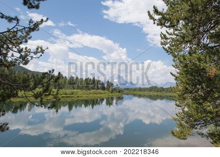 Scenic view of Oxbow Bend in Snake River in Grand Teton National Park, WY