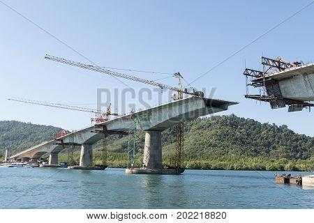 Construction of big bridge over the sea at Lanta island