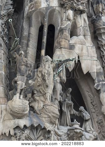 Barcelona Spain- 15th of August 2017: Temple of the Sagrada Familia designed by the architect Antoni Gaudí