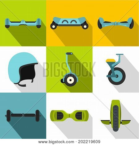 Balancing scooter icon set. Flat style set of 9 balancing scooter vector icons for web design