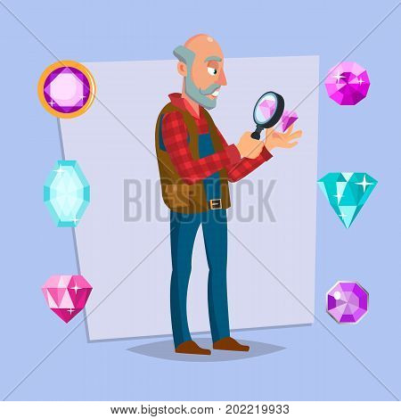Jeweler Valuer Isolated Man Vector. Professional Classic Jeweler Examines The Diamond. Cartoon Character Illustration