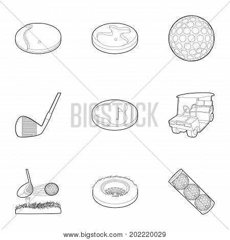 Golf accessory icons set. Outline set of 9 golf accessory vector icons for web isolated on white background