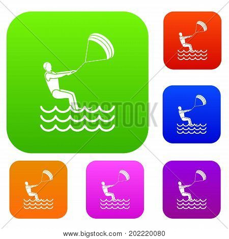 Man takes part at kitesurfing set icon in different colors isolated vector illustration. Premium collection