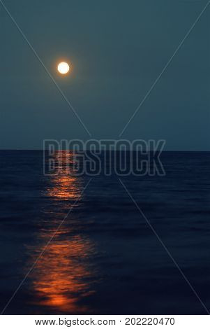 Reflection Of A Big Red Full Moon