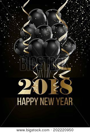 Happy New Year 2018 poster or greeting card of Christmas balls balloon and golden ribbon bows decoration on black premium background with snowflakes confetti. Vector design for New Year holiday