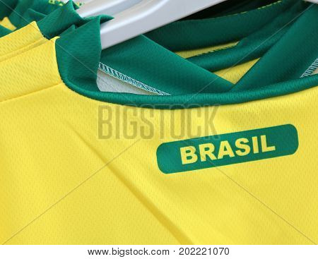 Football T-shirts With The Text Brasil Which Means Brazil