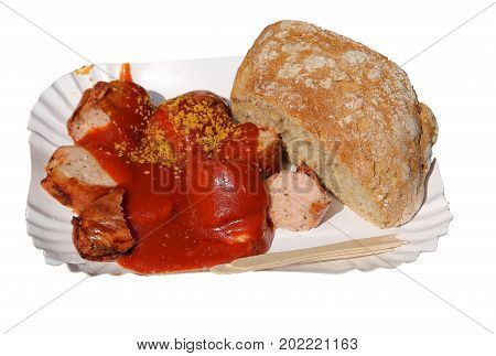 Famous Berlin Dish With Wurstel And Ketchup And Spices Called Cu