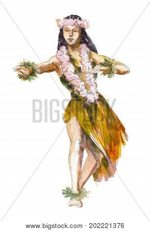 Hula Hawaii dancer girl watercolor illustration isolated on white background.
