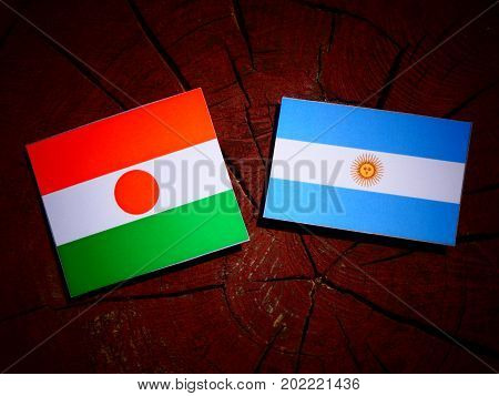 Niger Flag With Argentinian Flag On A Tree Stump Isolated