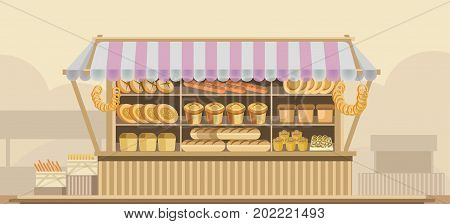 Counter stand with bread or bakery and dessert product booth display for grocery store or supermarket vendor wooden rack with baked baguette bagel or buns. Vector flat design