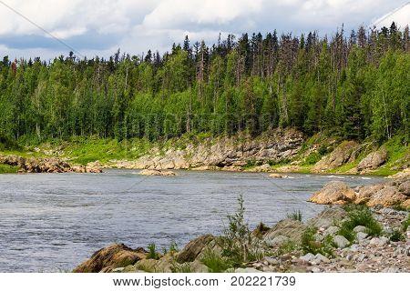 A small large tributary of the Yenisei River. Krasnoyarsk region, Russia