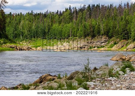 A large tributary of the Yenisei River. Krasnoyarsk region, Russia