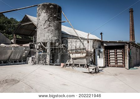 Cement Factory. Equipment For The Production Of Cement Blocks In A Small Cement Factory.