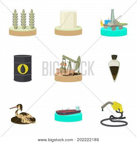 Oil pollution icons set. Cartoon set of 9 oil pollution vector icons for web isolated on white background