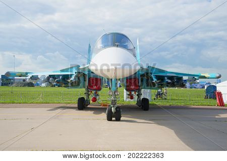 ZHUKOVSKY, RUSSIA - JULY 20, 2017: Russian multifunctional fighter Su-32 full-face. MAKS-2017 Air Show
