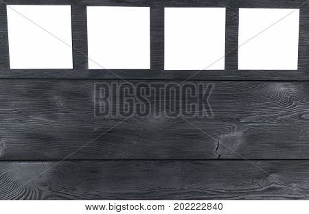 White blank cards on black wooden table with copy space. Creative reminder small sheets of paper on desk with empty space for text light memo background