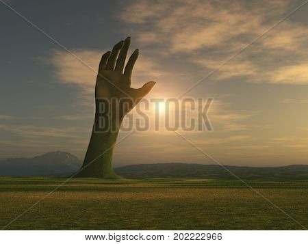 3d illustration of a hand emerging from the earth