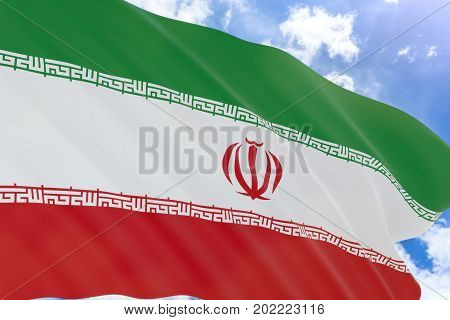 3D Rendering Of Iran Flag Waving On Blue Sky Background