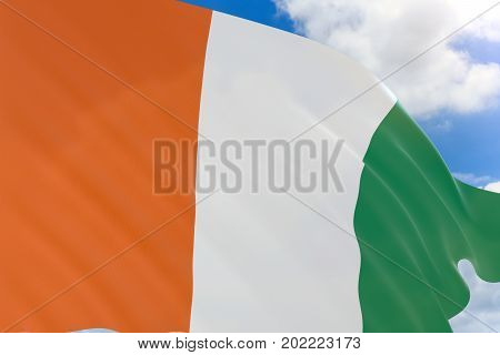 3D Rendering Of Ivory Coast Flag Waving On Blue Sky