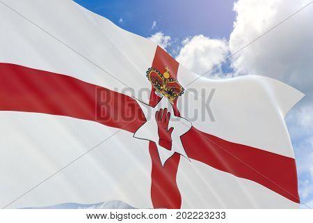 3D Rendering Of Northern Ireland Flag Waving On Blue Sky