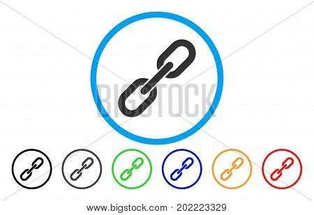 Chain Link vector rounded icon. Image style is a flat gray icon symbol inside a blue circle. Additional color variants are gray, black, blue, green, red, orange.