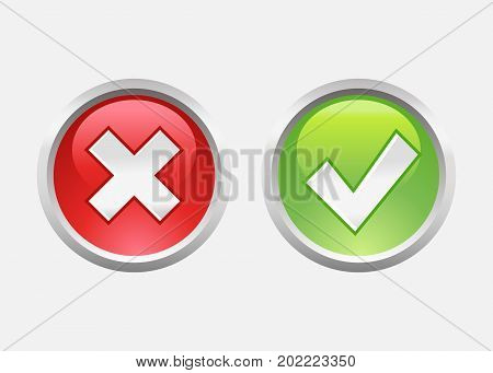 Tick and cross sign. Green and red checkmark. Vector stock.