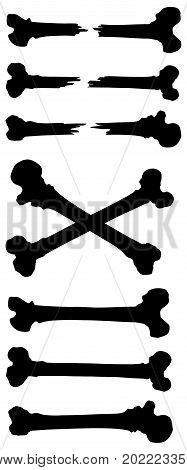 Graphic black and white silhouette broken crossed human bone vector set