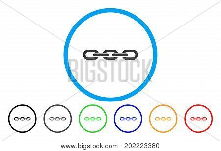 Chain vector rounded icon. Image style is a flat gray icon symbol inside a blue circle. Additional color versions are gray, black, blue, green, red, orange.