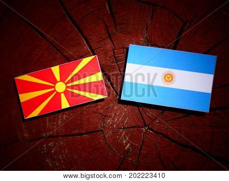Macedonian Flag With Argentinian Flag On A Tree Stump Isolated