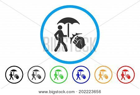 Crime Coverage vector rounded icon. Image style is a flat gray icon symbol inside a blue circle. Additional color versions are gray, black, blue, green, red, orange.