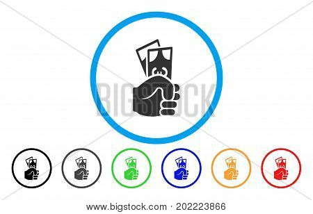 Euro Banknotes Salary vector rounded icon. Image style is a flat gray icon symbol inside a blue circle. Additional color variants are grey, black, blue, green, red, orange.