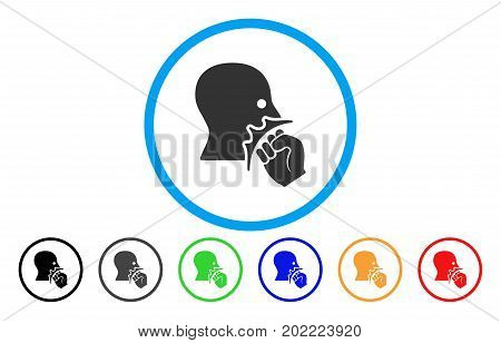 Face Violence Strike vector rounded icon. Image style is a flat gray icon symbol inside a blue circle. Additional color variants are grey, black, blue, green, red, orange.