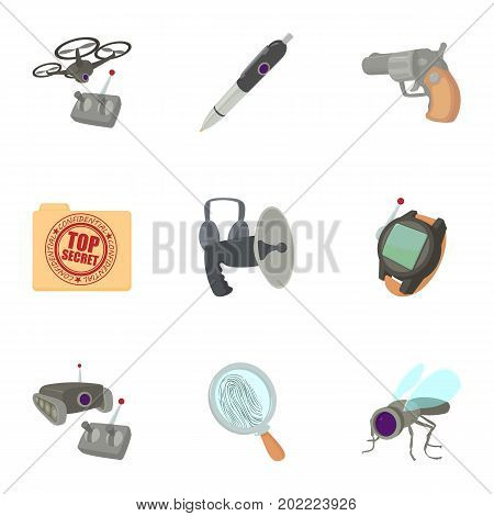 Spy equipment icons set. Cartoon set of 9 spy equipment vector icons for web isolated on white background