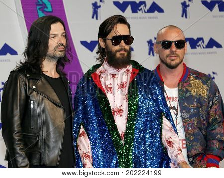Jared Leto, Shannon Leto and Tomo Milicevic of Thirty Seconds to Mars at the 2017 MTV Video Music Awards held at the Forum in Inglewood, USA on August 27, 2017.
