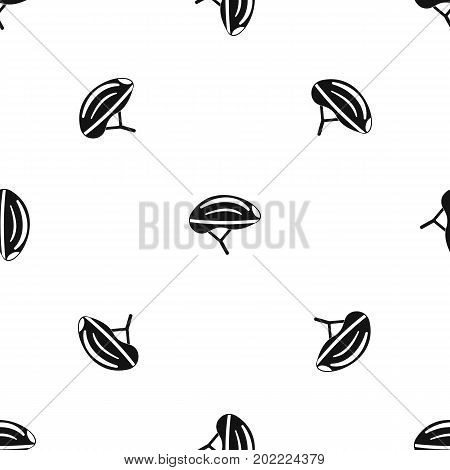 Bicycle helmet pattern repeat seamless in black color for any design. Vector geometric illustration