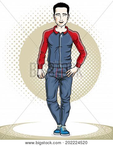 Handsome brunet young man standing. Vector illustration of sportsman. Active and healthy lifestyle theme clipart.