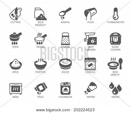 Set of icons on cookery theme isolated on white background. Flat labels for cooking projects, home appliances, products, stickers, printing in books, buttons on sites and apps. Vector illustration