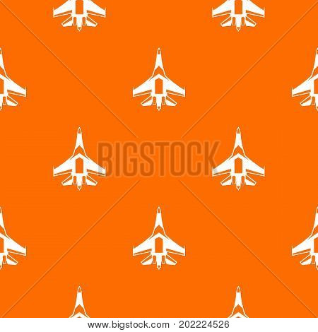 Jet fighter plane pattern repeat seamless in orange color for any design. Vector geometric illustration