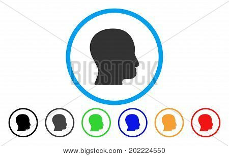 User Head vector rounded icon. Image style is a flat gray icon symbol inside a blue circle. Additional color variants are grey, black, blue, green, red, orange.