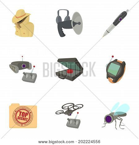 Fbi icons set. Cartoon set of 9 fbi vector icons for web isolated on white background