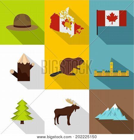 Landmarks of Canada icon set. Flat style set of 9 landmarks of Canada vector icons for web design