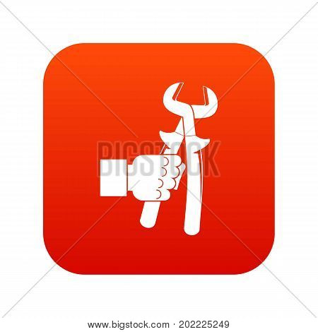 Hand holdimg calipers icon digital red for any design isolated on white vector illustration