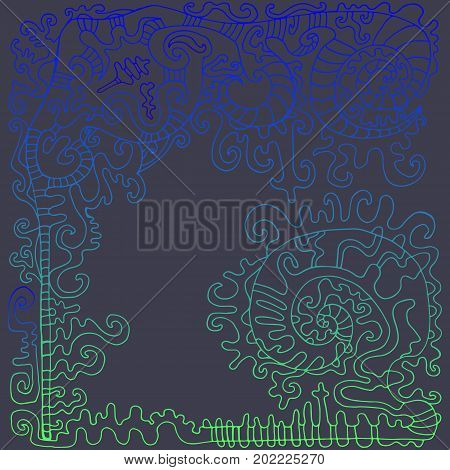 Decorative psychedelic fantastic frame with place for text neon blue green gradient. Isolated on an ash blue background. Stylish bright card. Vector hand drawn illustration.