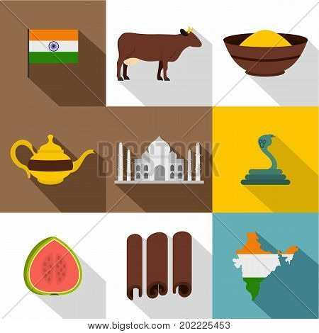 India icon set. Flat style set of 9 India vector icons for web design