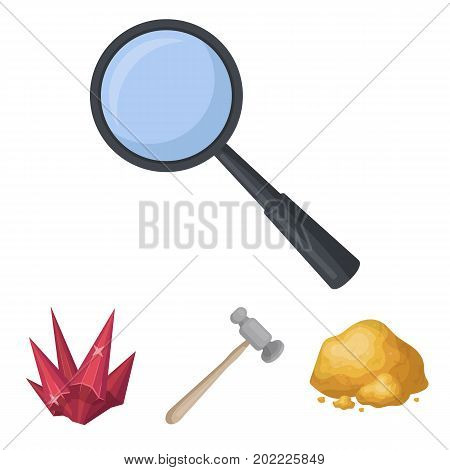 A jeweler's hammer, a magnifier, a copper ore, a crystal. Precious minerals and a jeweler set collection icons in cartoon style vector symbol stock illustration .