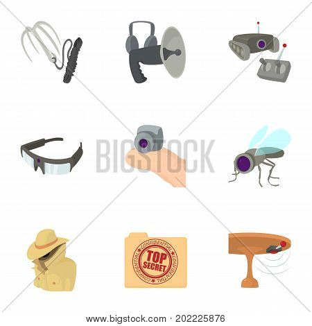 Top secret icons set. Cartoon set of 9 top secret vector icons for web isolated on white background