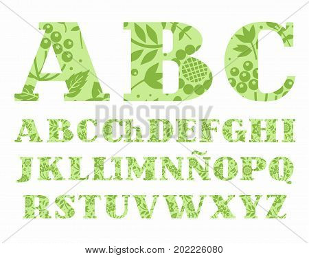 Spanish alphabet, flowers and berries, green, vector.  Uppercase letters of the Spanish alphabet with serif. Green berries, twigs and grass on a light green background.