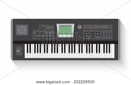 Simple  synthesizer flat  icons on white background vector illustration. Musical instruments flat icons