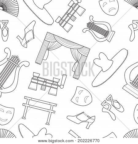 Seamless pattern background with simple theater and ballet symbols line art icons on white background vector illustration
