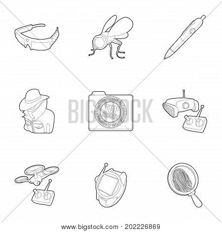 Secret agent equipment icons set. Outline set of 9 secret agent equipment vector icons for web isolated on white background